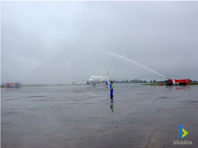 aircraft ground handling-Bhadra welcome anewairrcraft in the bhadra family with water shower