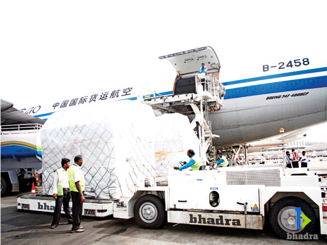 Bhadra International cargo pallets being shifted to cargo warehouse, Chennai Airport, India