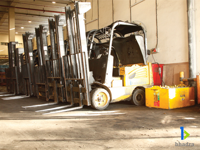 Bhadra International electricforklifts beingcharged atchargingstations, Chennai Airport, India