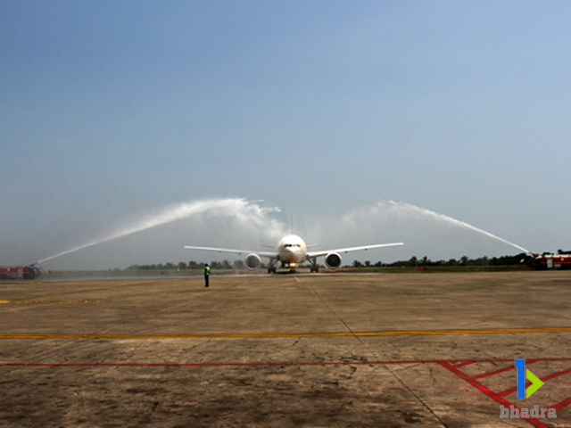 airport ground services-Inaugural Flight Celebration with Water Cannon Welcome, Kozhikode Airport, India