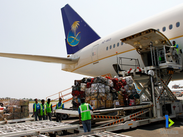 air cargo handling-Unloading of Cargo, Kozhikode Airport, India