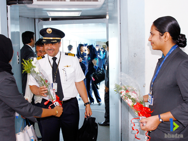 aviation ground services-Welcoming Pilot of Crew, Kozhikode Airport, India
